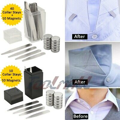 Newest 10/40 Metal Collar Stays + 10 Magnets For Men Shirts 4Various Sizes W/Box