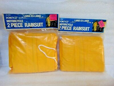 2 NOS motorcycle 2 PIECE RAIN SUITS safety yellow PANTS JACKETS $14.95 free ship