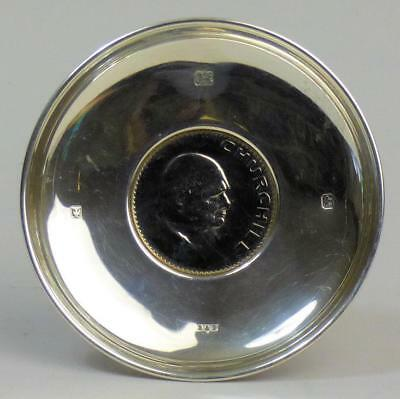 Fine Silver Sir Winston Churchill Commemorative Pin Tray London 1965 - 69 Grams