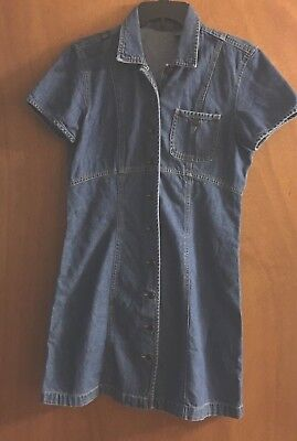 LIZ WEAR Liz Claiborne DENIM Jean Dress Size 4 A-line 100% Cotton Button Front