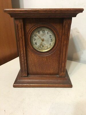 Unusual Antique New Haven Arts & Crafts Oak Alarm Clock Fantastic Quality