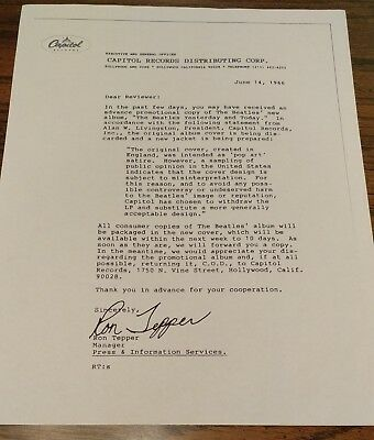 Beatles capitol records butcher cover recall letter by ron tepper beatles capitol records butcher cover recall letter by ron tepper 1966 thecheapjerseys Gallery