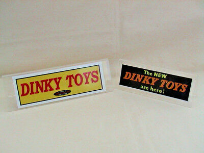 2 Dinky Toys Perspex Shop DIsply Signs. [Our Ref SS]