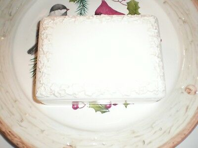White Wedgwood covered box. EMBOSSED QUEENS WARE