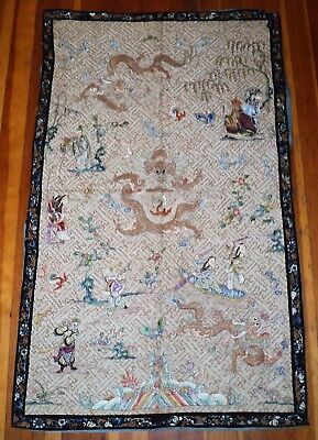 Antique CHINESE EMBROIDERY Silk WallHanging TAPESTRY Dragons Gods Scholars Lotus