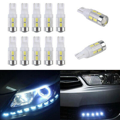 10x Bright White Car LED Light T10 10SMD 5630 Canbus Error Free Wedge Lamp Bulb