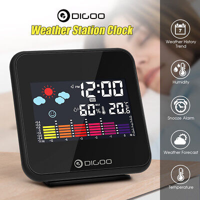DIGOO Wireless LCD Color Weather Station Hygrometer Thermometer Backlight Clock