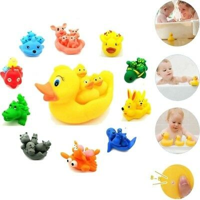 Mummy and Baby Rubber Race Squeaky Ducks Family Bath Shower Toy Kid Game Toys
