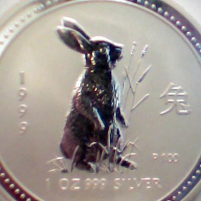 1999 AUSTRALIA Troy Ounce .999 SILVER DOLLAR RABBIT CHINESE LUNAR YEAR UNC