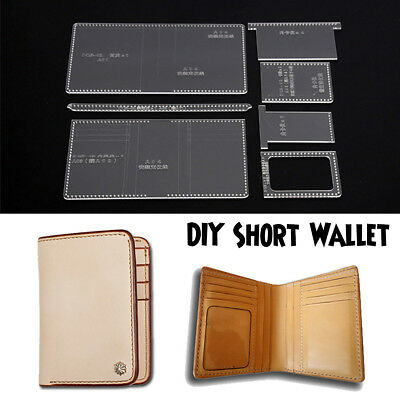 DIY Acrylic Business Short Wallet Pattern Stencil Template Leather Craft DQB-02