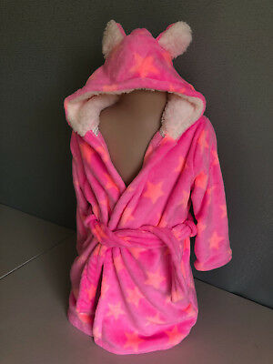 BNWOT Girls Size 3 to 4 Soft Fluffy Pink & Stars Print Dressing Gown With Hood