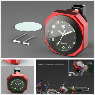Red Shell Alloy Waterproof Motorcycle Bikes Mount LED Luminous Clock Time Gauge