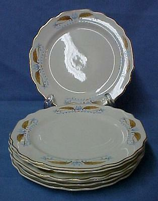 W S George Lido Gold Blue Leaf 7 Scalloped Edge China Bread Plates Vintage