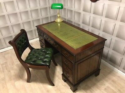 Antique Style Green Leather Top Writing Desk & Chesterfield Chair FREE UK P&P