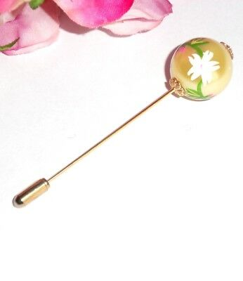 Beautiful Decorated Large Glass Pearl Hat Pin/Scarf Pin with End Protector