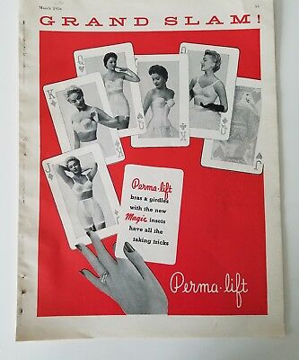 1956 Perma-lift women's girdle bra  playing cards design 6 page ad