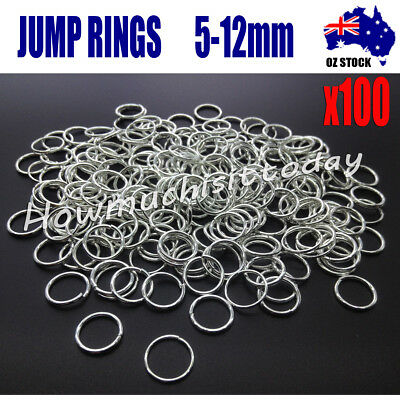 100 PCS Jump Rings Split Close Unsoldered Brass, Silver Color  5mm - 12mm
