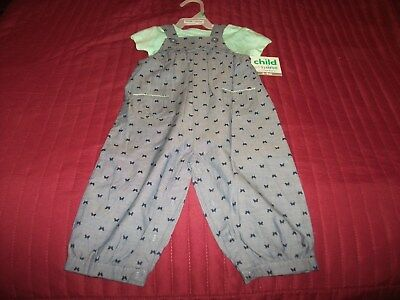 Child of Mine by Carter's 2 Piece Girls Ruffled Overall Set 6-24 Months