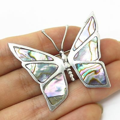 Vtg Mexico Signed 925 Sterling Silver Abalone Shell Butterfly Pin Brooch
