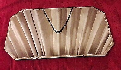 Large Vintage 1950's Bevelled Edge Mirror with Original Hanging Chain