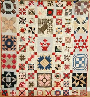 MUSEUM QUALITY Vintage 19th Century Sampler Antique Quilt ~MINIATURE BLOCKS!