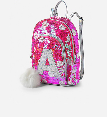 Justice Girls Pink Flip Sequin Initial Mini Backpack New with Tags
