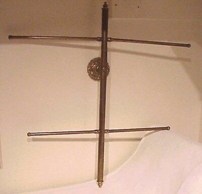 Antique Dated 1926 Solid Brass Wall Mount Entry Hall Tree Coat, Hat, Scarf Rack