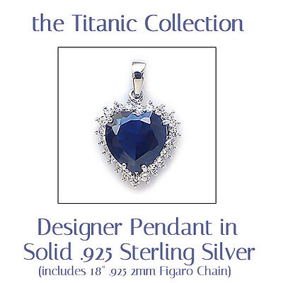 "Titanic ""Heart of the Ocean"" .925 Sterling Silver & Rhodium Pendant and Chain"