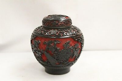 Chinese Cinnabar Carved Red Black Roses Branches Blue Inside Lidded Jar