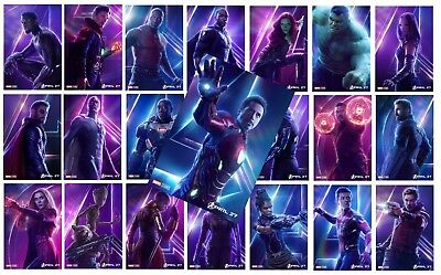 AVENGERS: INFINITY WAR Character Poster Dr Strange, Black Widow, Thor  A5 A4 A3