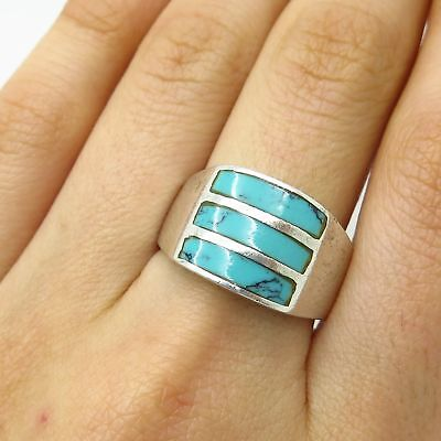 Vtg Mexico 925 Sterling Silver Real Turquoise Gemstone Wide Ring Size 9