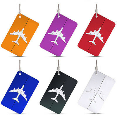 1PC Luggage Tag Aluminum Alloy Air Plane Travel Suitcase Name Address ID Label