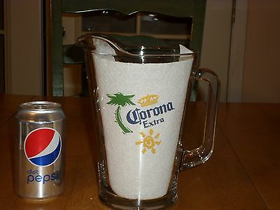 CORONA EXTRA, CLEAR GLASS BEER PITCHER, 58oz. Large Sized, Heavy DutyThick Glass