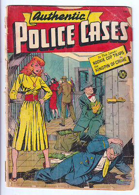 AUTHENTIC POLICE CASES 11 (1954) Matt Baker c/a; Great redhead cover