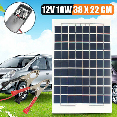 10W 12V Poly Solar Panel Module Battery Charger +13ft Cable For Home RV Boat