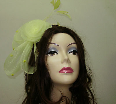 FASCINATOR HAT Ladies YELLOW Cocktail Dress Hats ONE SIZE Man Made Horsehair