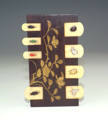 Antique Japanese Meiji Period - Inlaid Insect Shibayama Lacquered Whist Marker