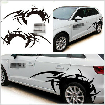 2 Pcs Black Car Offroad DIY Side Decoration Vinyl Long Wheel Eyebrow Flame Decal
