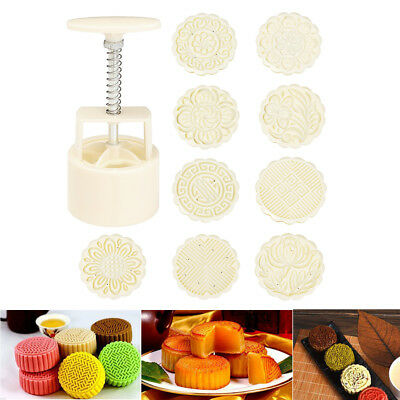 100g Mooncake DIY Mold Baking Tool Pastry Round Fower Stamp Mould Homemade 10PCs