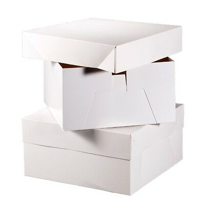 "WHITE CAKE BOXES 8"", 10"", 12"", 14"", 16"" 18"" and 20"" HEIGHT 6"" WEDDING BIRTHDAY"