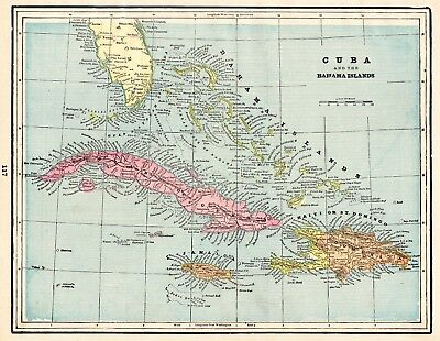 1892 Antique Map of CUBA Bahamas Map Jamaica Map Collector Gift 5143