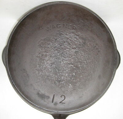 "Early Antique #12 ""wagner"" Cast Iron Skillet-Arched Logo-Heat Ring"