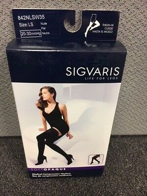 SIGVARIS Thigh-Hi Compression Stockings Sz LS Large sh 20-30 mmHg NUDE 842NLSW35