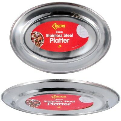 25cm SERVING PLATTER Stainless Steel Silver Large Food Plate Catering Tray 1 - 8