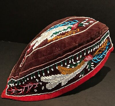 Fine 19th C Mohowk / Iroquois BEADED GLENGARRY HAT, Floral Motifs, Near Mint