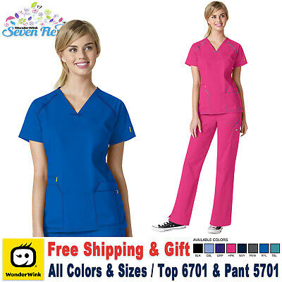 53a4699b3cd WonderWink Scrubs Set SEVEN FLEX Women's Contrast V Top Cargo Pant_6701/5701