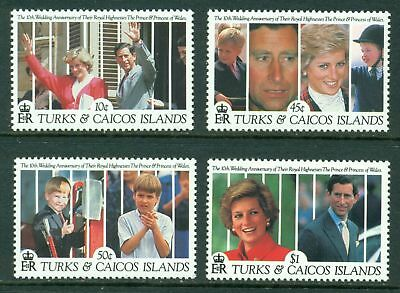 Turks & Caicos Islands Scott #913//920 MNH Prince Charles Diana 10th ANN CV$10+