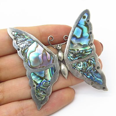 Vtg Mexico Signed 925 Sterling Silver Abalone Shell Large Butterfly Pin Brooch