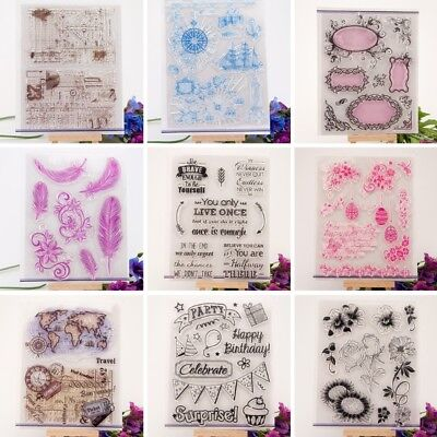 Transparent Silicone Clear Rubber Stamp Sheet Cling Scrapbooking DIY Decor