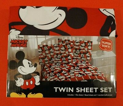 Disney Mickey Mouse Red Covered W/mickies Twin Sheet Set Sheets & Pillowcase New
